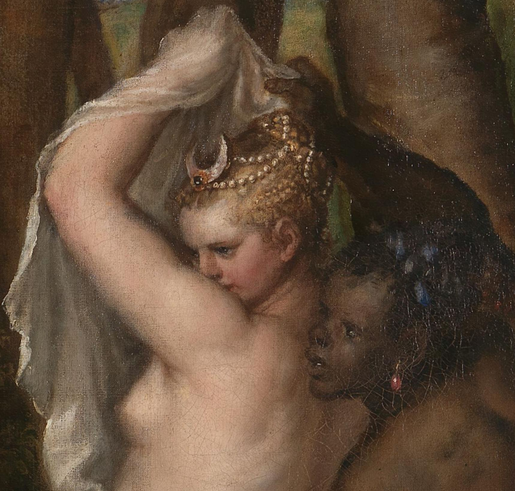 Titien 1556-1559 Diane et Acteon, Londres, National Gallery et Edimbourg, National Gallery of Scotland detail noire
