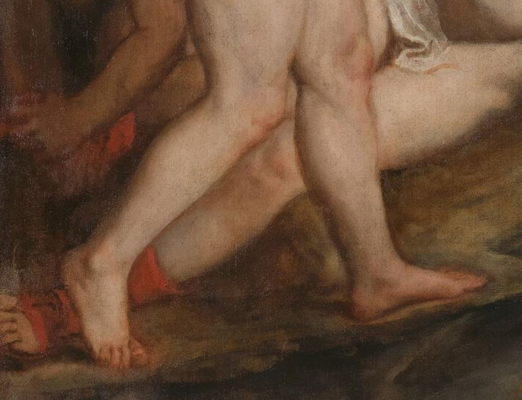 Titien 1556 Diana Callisto Edimbourg, National Gallery of Scotland detail bottines