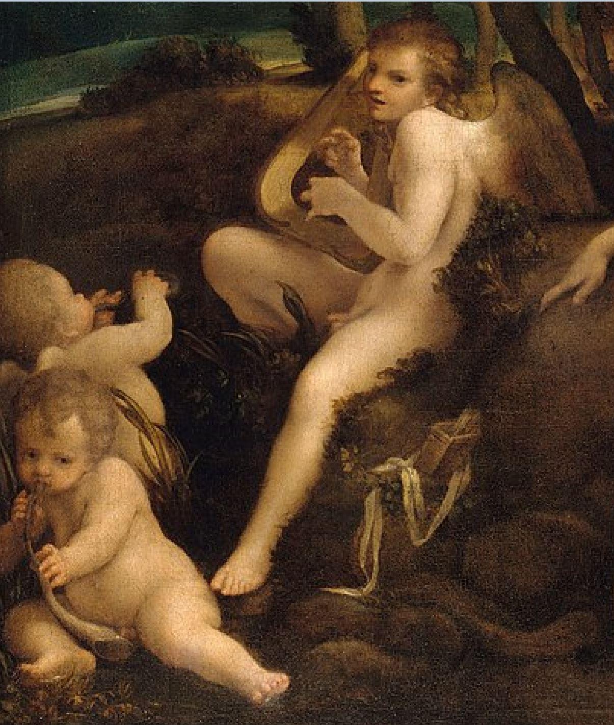 correge 1530 ca leda Staatliche Museen, Berlin 152 x 191 cm detail