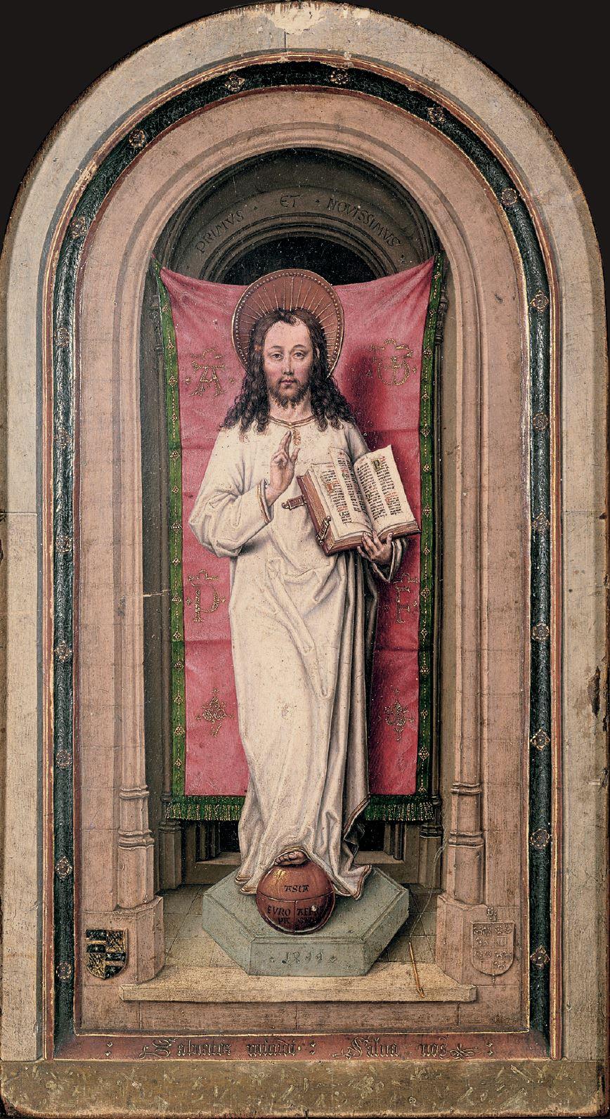Diptych_Master_of_1499 Abbot Christiaan de Hondt Salvator Mundi , Koninklijk Museum voor Schone Kunsten, Antwerp left
