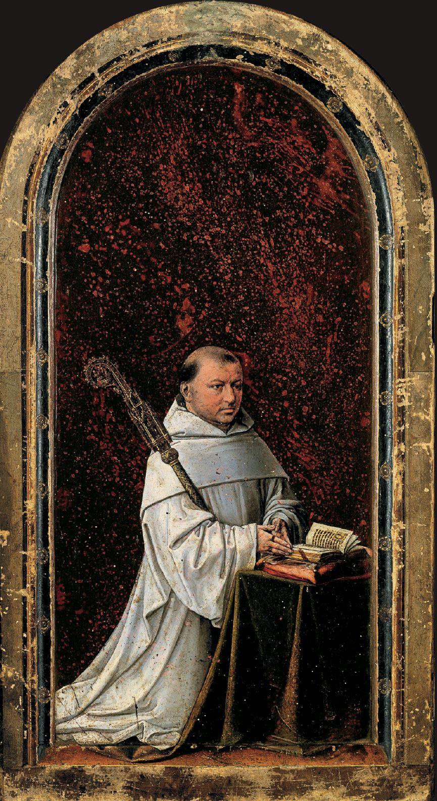 Diptych_Master_of_1499 Abbot Christiaan de Hondtabbot Robrecht de Clercq , Koninklijk Museum voor Schone Kunsten, Antwerp left