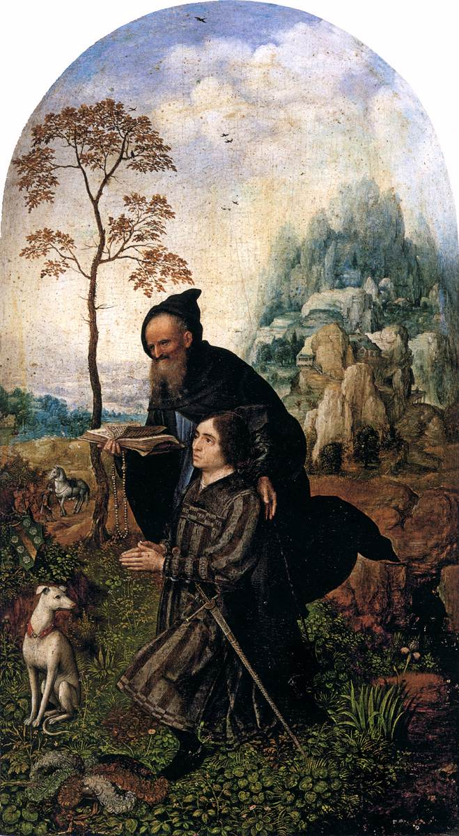 Gossaert 1508 Siziliano diptych St_Anthony_with_Donor Palazzo Doria Rome