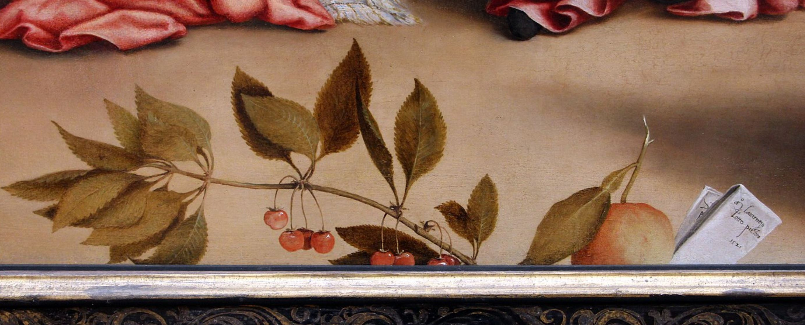 Lotto 1521 Christ taking leave o fhis mother avec Elisabetta Rota Gemaldegalerie, Berlin detail fruits
