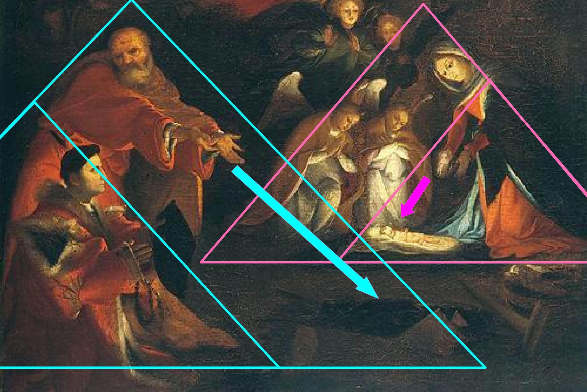 Lotto 1525-29, Nativite avec Domenico Tassi, (copie), Galerie de l'Academie, Venise (132 x 104) schema triangle