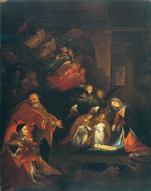 Lotto 1525-29, Nativite avec Domenico Tassi, (copie), Galerie de l'Academie, Venise (132 x 104)