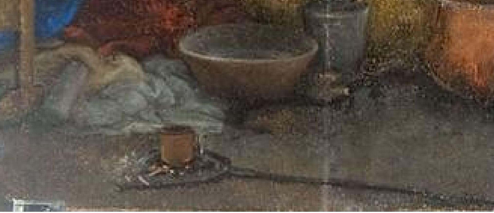 Lotto 1527-28 Nativita Pinacoteca Nazionale Sienne detail pelle