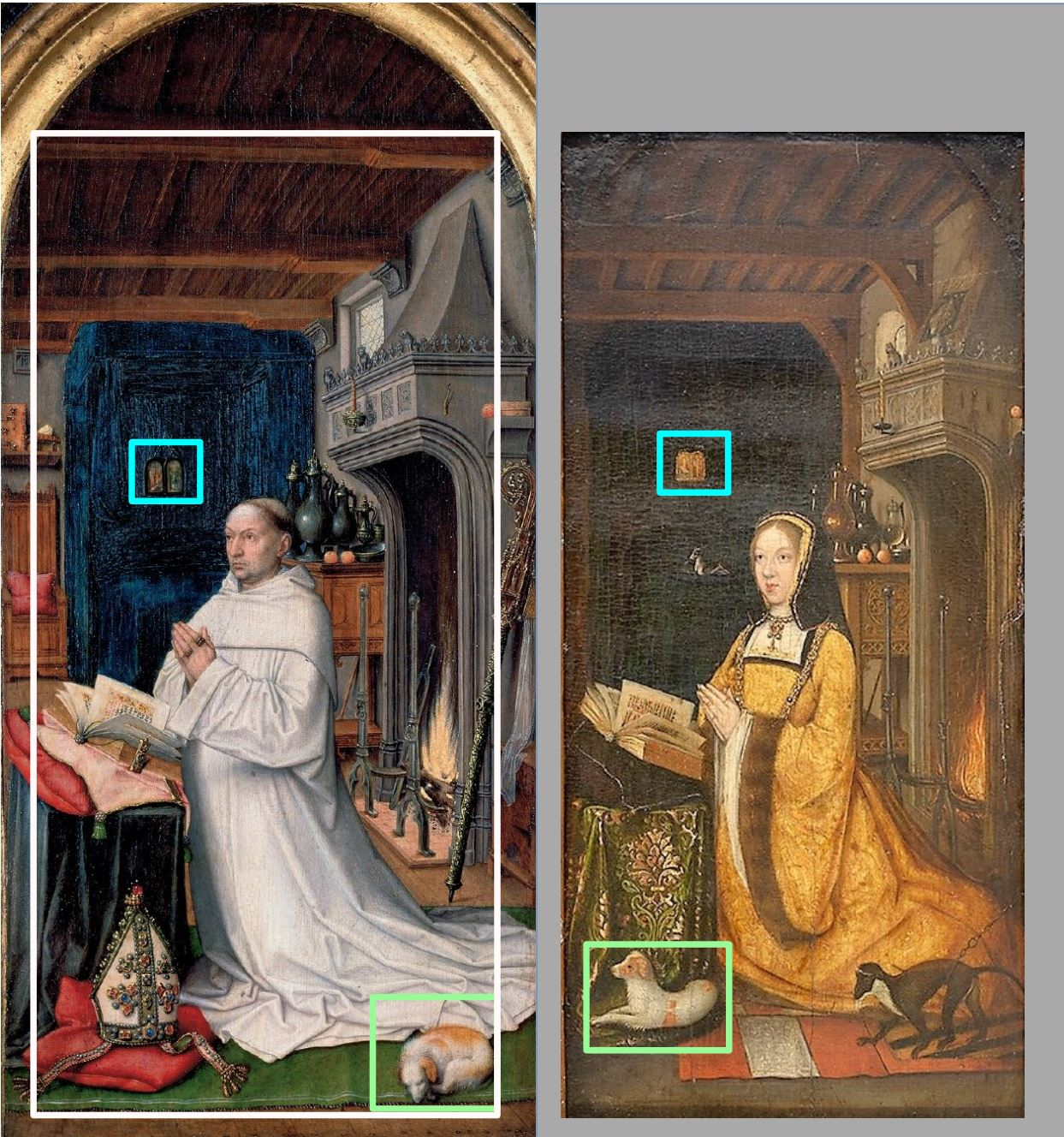 Master_of_1499 1500-10 Diptyque de Marguerite d'Autriche Museum voor Schone Kunsten, Ghent comparaison