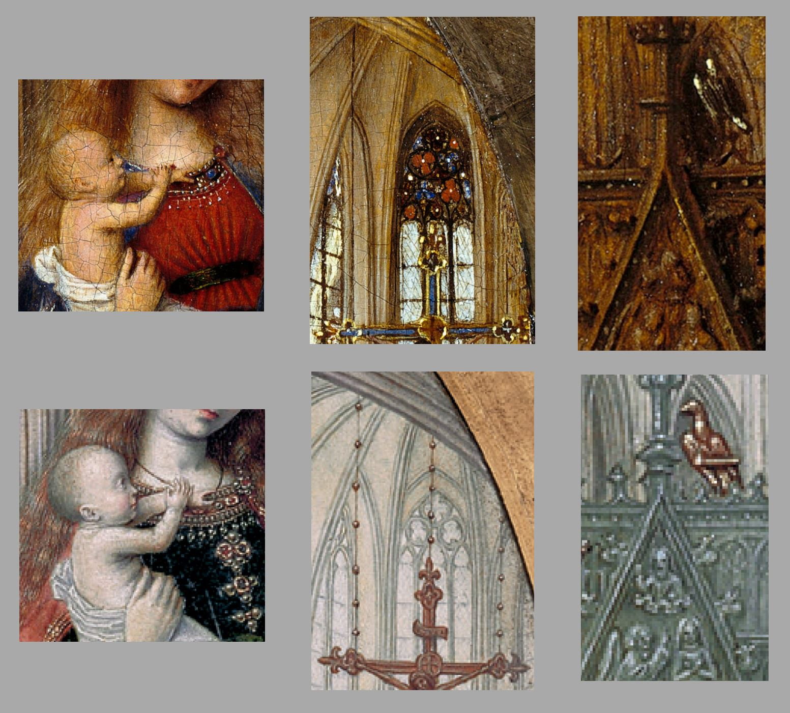 Van Eyck 1438–40 Madonna in the church Staatliche Museen, Berlin comparaison rationalisation