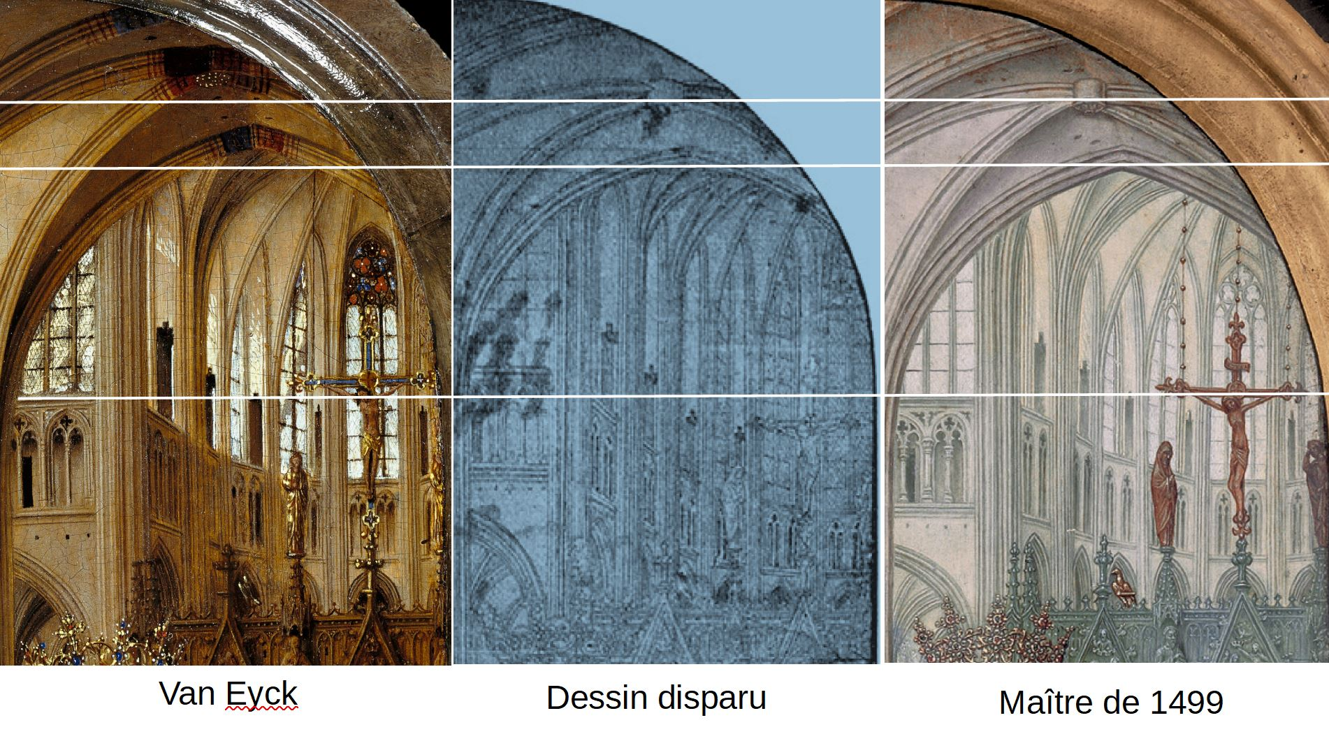 Van Eyck 1438–40 Madonna in the church Staatliche Museen, Berlin comparison choeur
