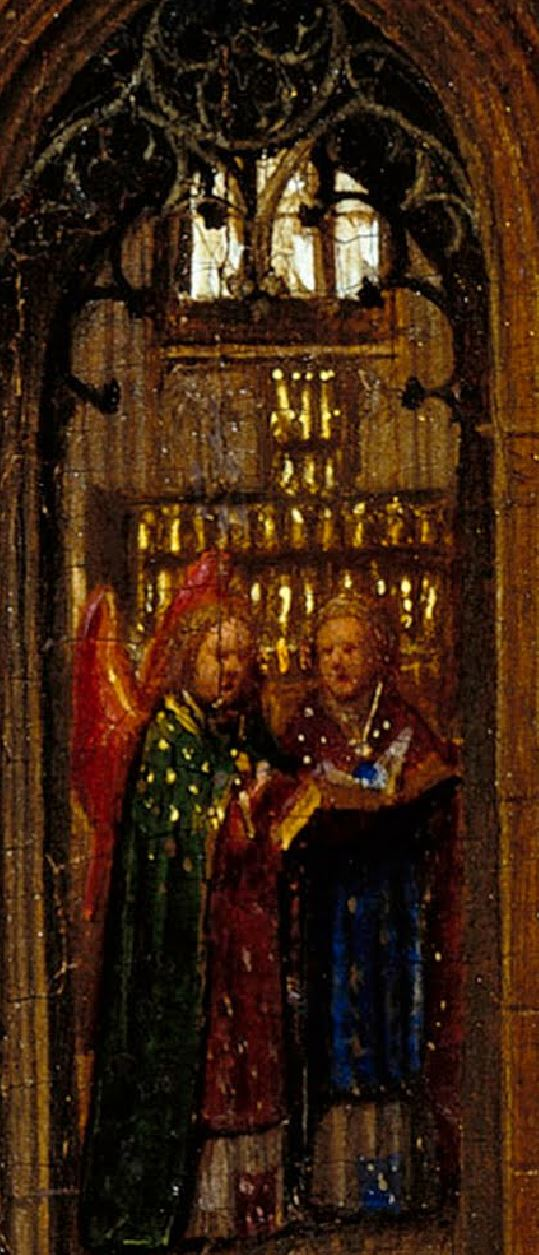 Van Eyck 1438–40 Madonna in the church Staatliche Museen, Berlin detail anges