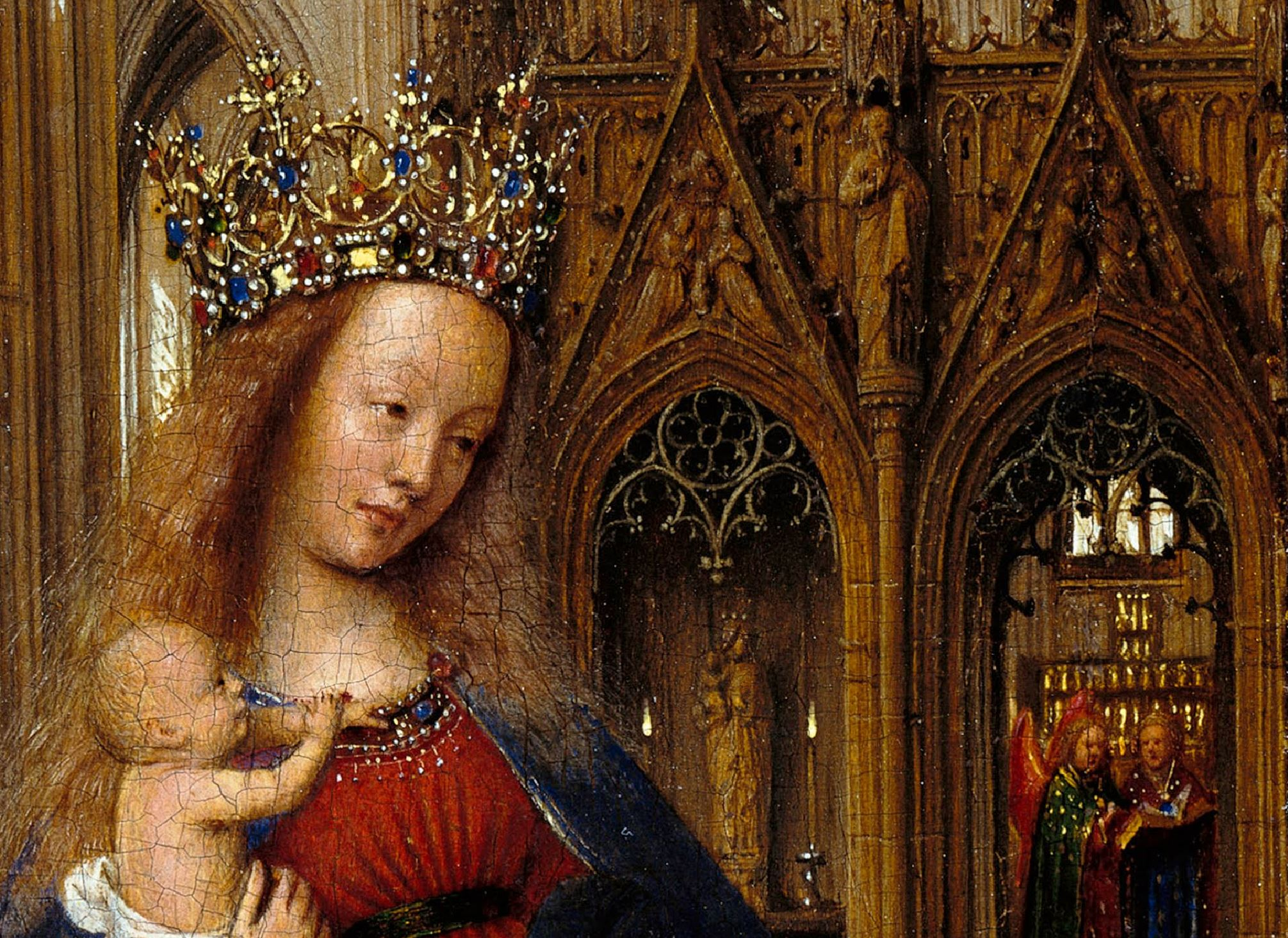 Van Eyck 1438–40 Madonna in the church Staatliche Museen, Berlin detail jube bas