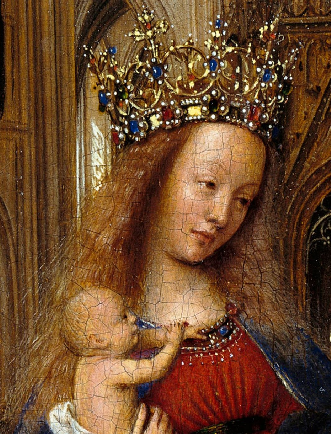 Van Eyck 1438–40 Madonna in the church Staatliche Museen, Berlin detail regards