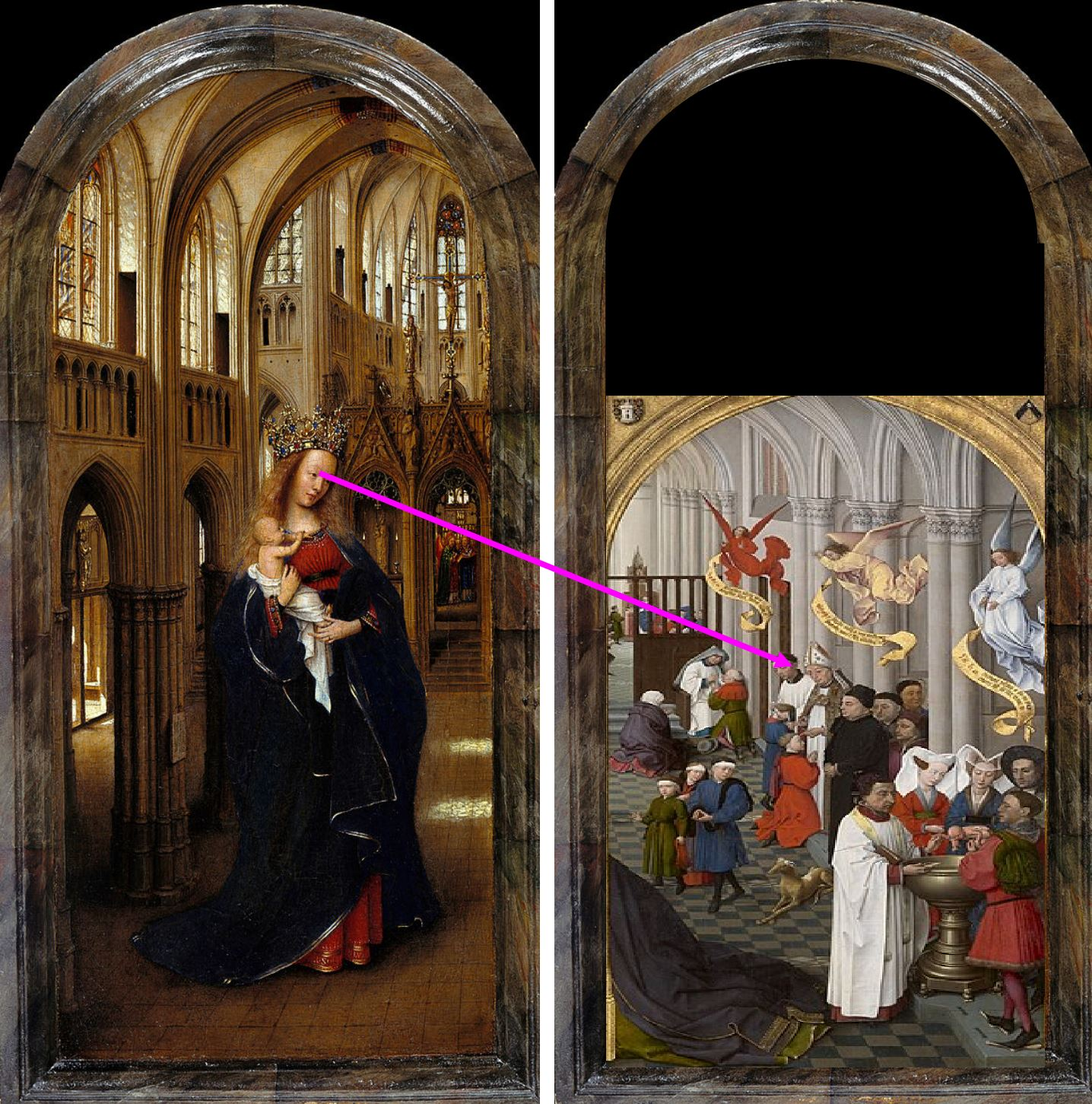 Van Eyck 1438–40 Madonna in the church Staatliche Museen, Berlin schema8