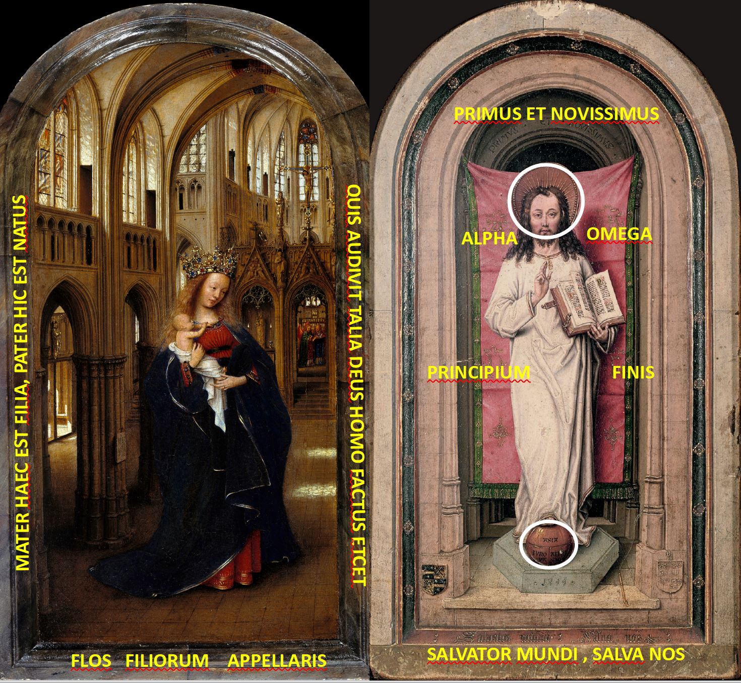 Van Eyck 1438–40 Madonna in the church Staatliche Museen, Berlin. diptyque reconstitue 1