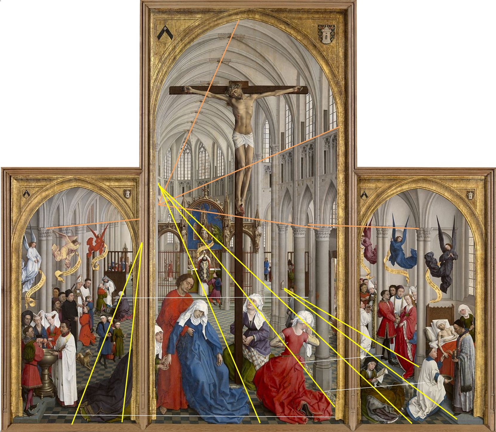 Van der Weyden 1445-50 Seven_Sacraments Altarpiece Royal Museum of Fine Arts Antwerp percpective