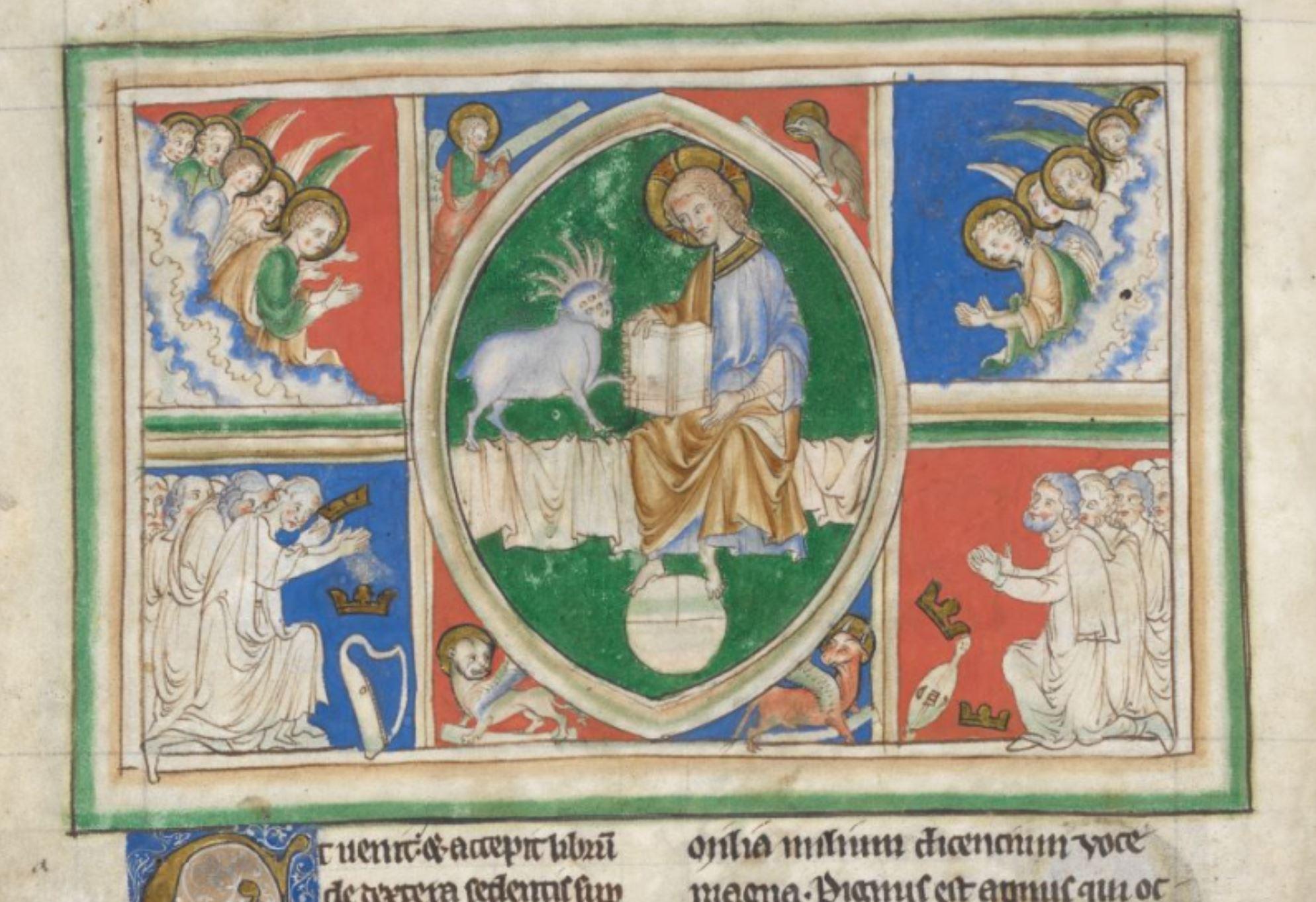 1250-1300 BL Add MS 35166 fol 6v Agneau prend livre
