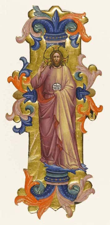 1380 ca Mass for Easter Monday in Santa Maria degli Angeli's Corale 3, Cat. 27D Fitzwilliam Museum, Marlay cutting It. 13.ii