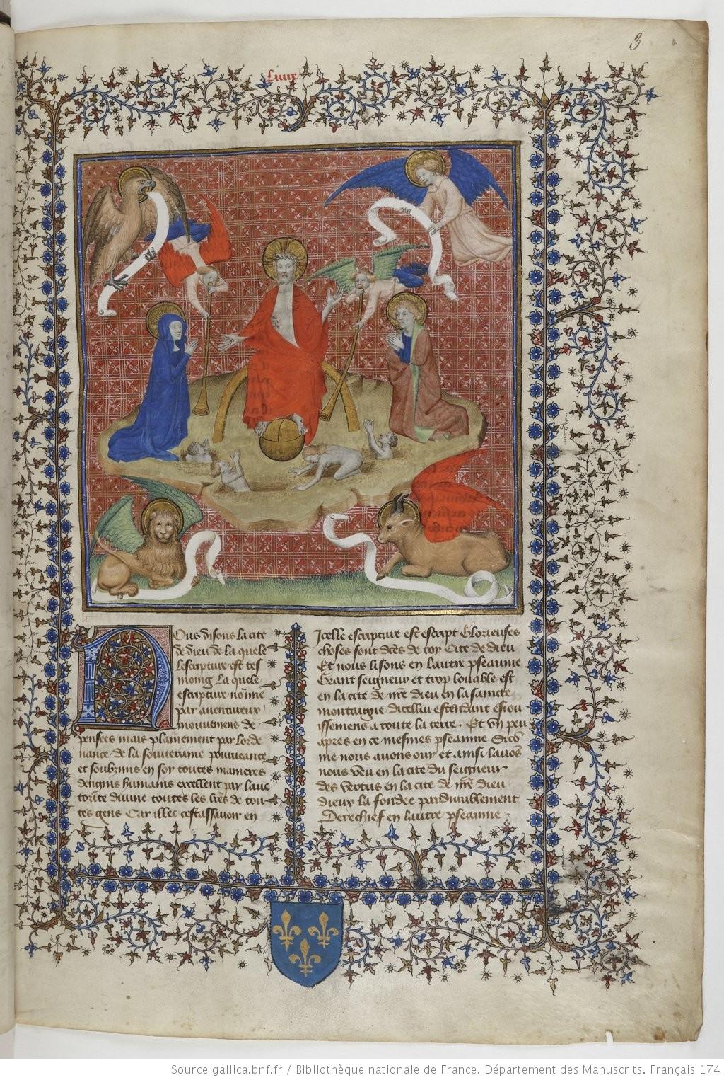 1400-05 Jacquemart de Hesdin augustinus de civitate dei BNF Francais fol 3r , Jugement Dernier