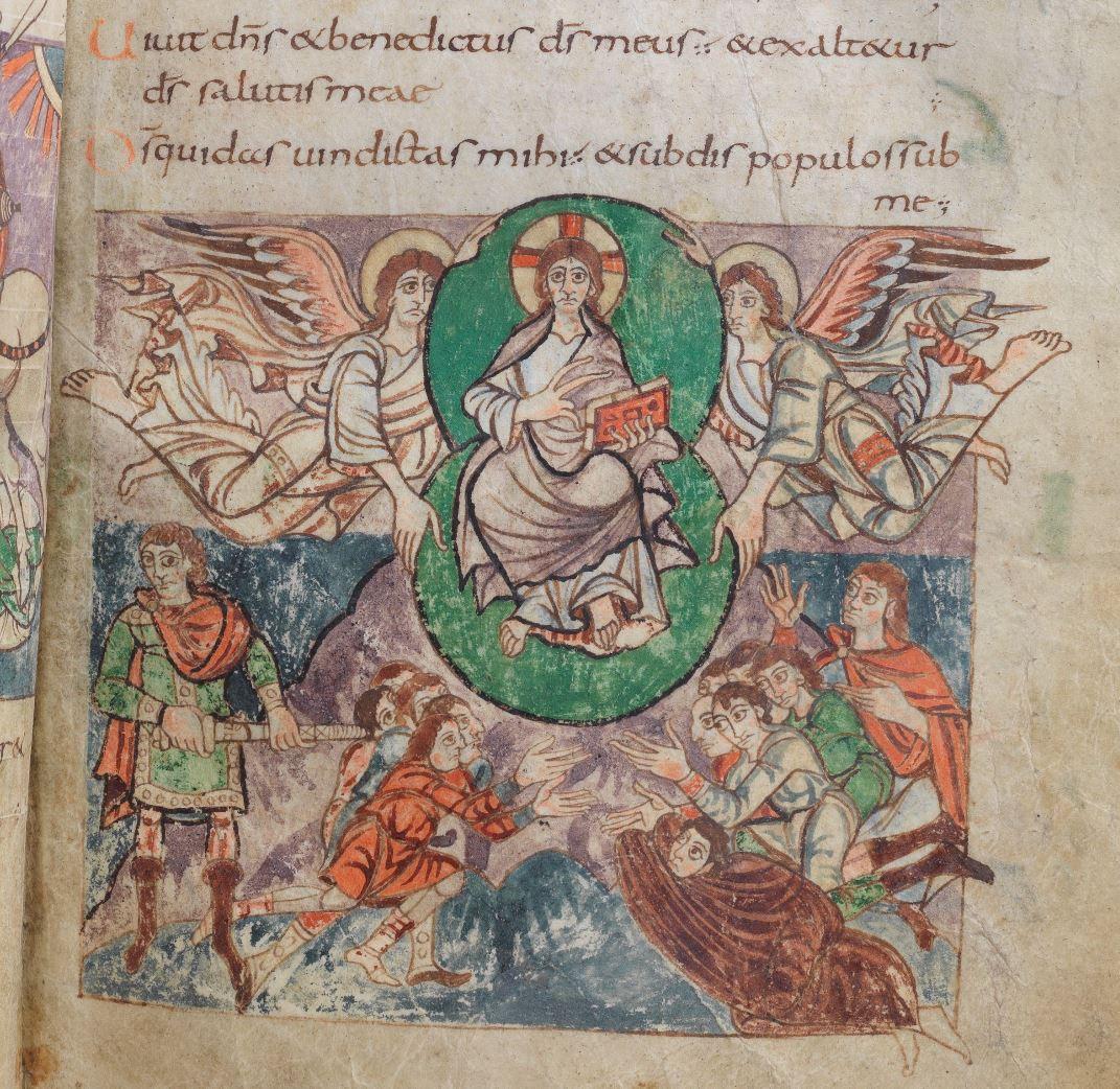 820 ca Psautier de Stuttgart Psaume 18,48 fol 22r Wurttembergische Landesbibliothek. Stuttgar