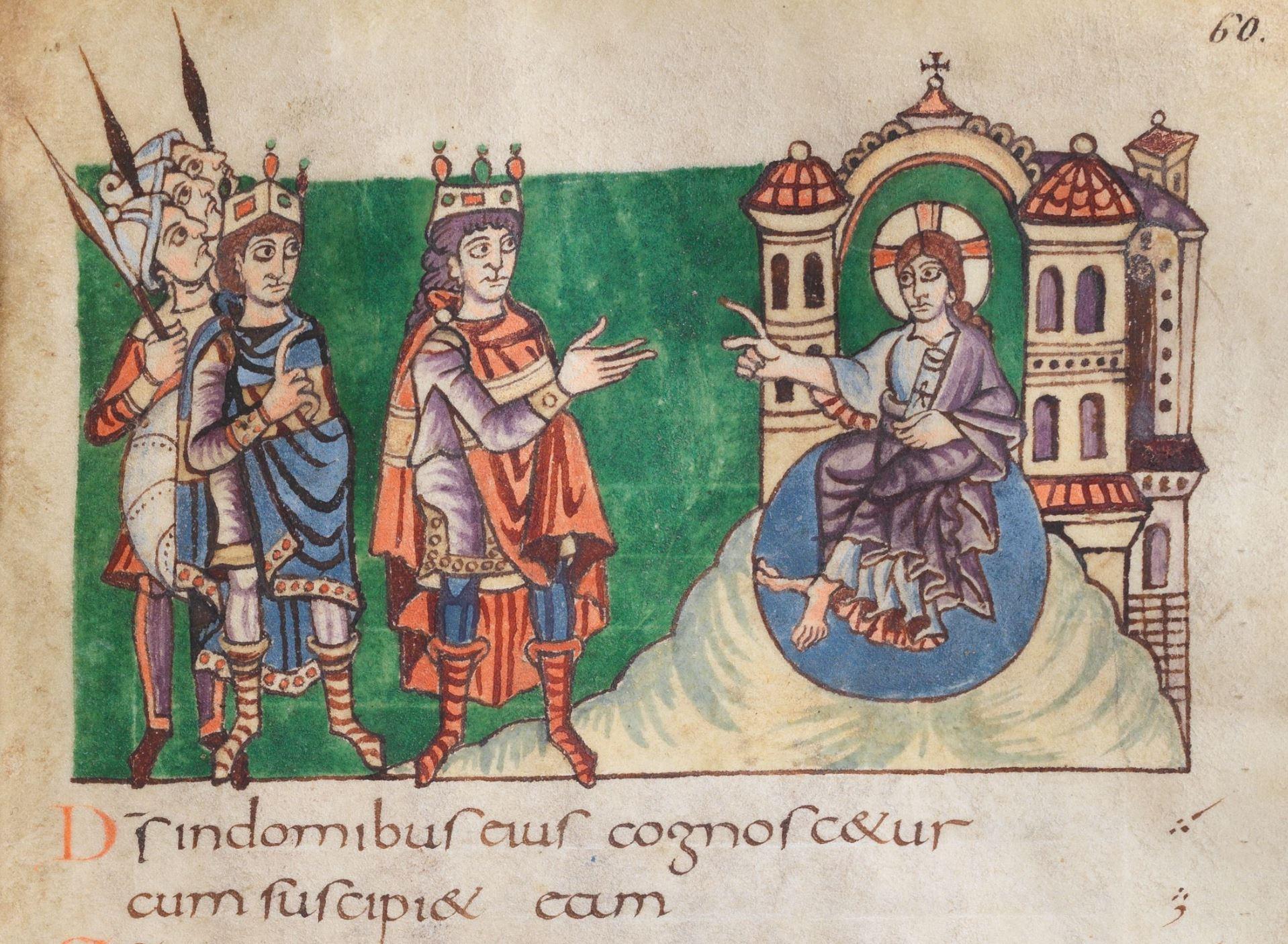 820 ca Psautier de Stuttgart Psaume 48, 4 fol 60r Wurttembergische Landesbibliothek. Stuttgar