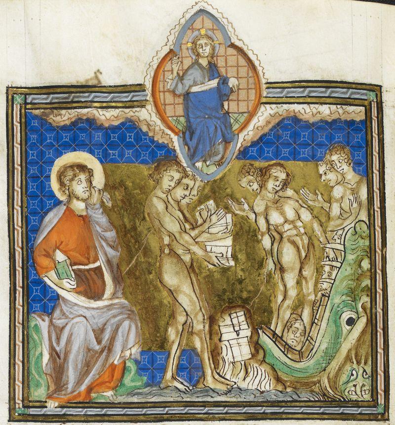 Abingdon Apocalypse, England 1275-1300 BL Add MS 42555, f. 77v.