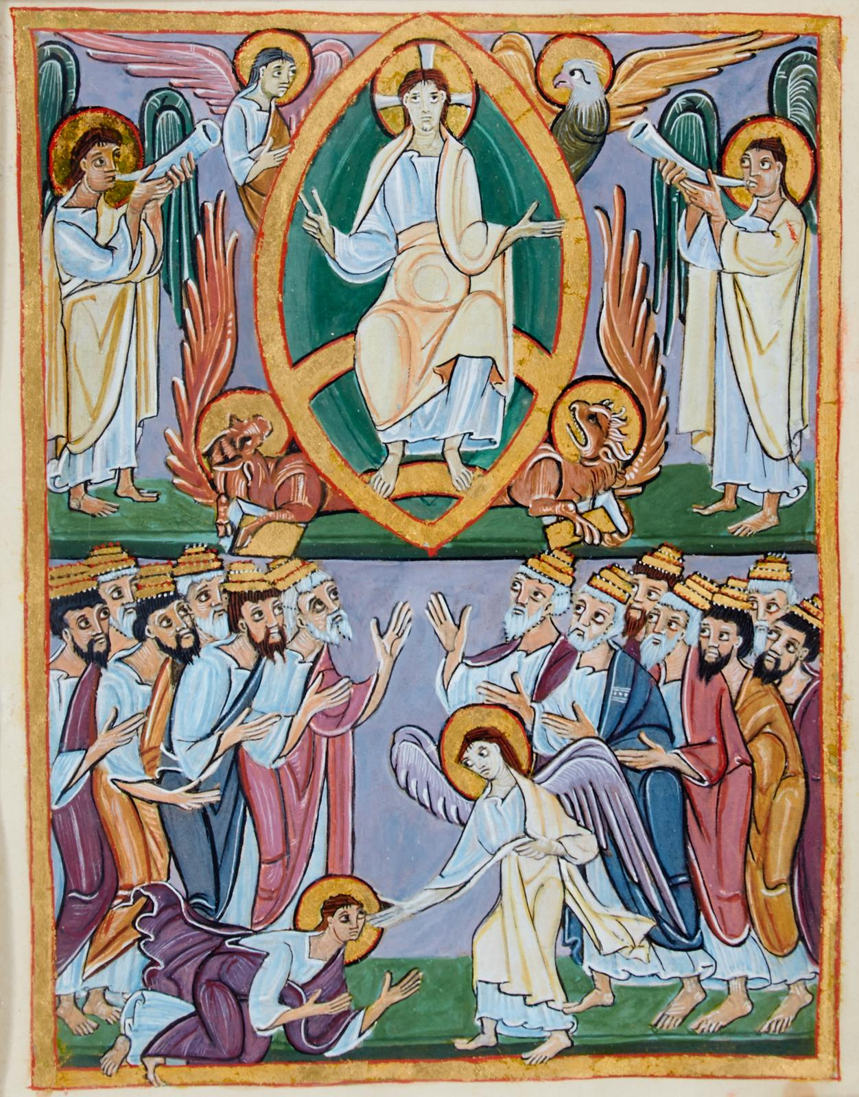 Apocalypse de Bamberg 1000 ca Apocalypse 19,1-9 fol 47v Bamberg, Staatsbibliothek, MS A. II. 42d