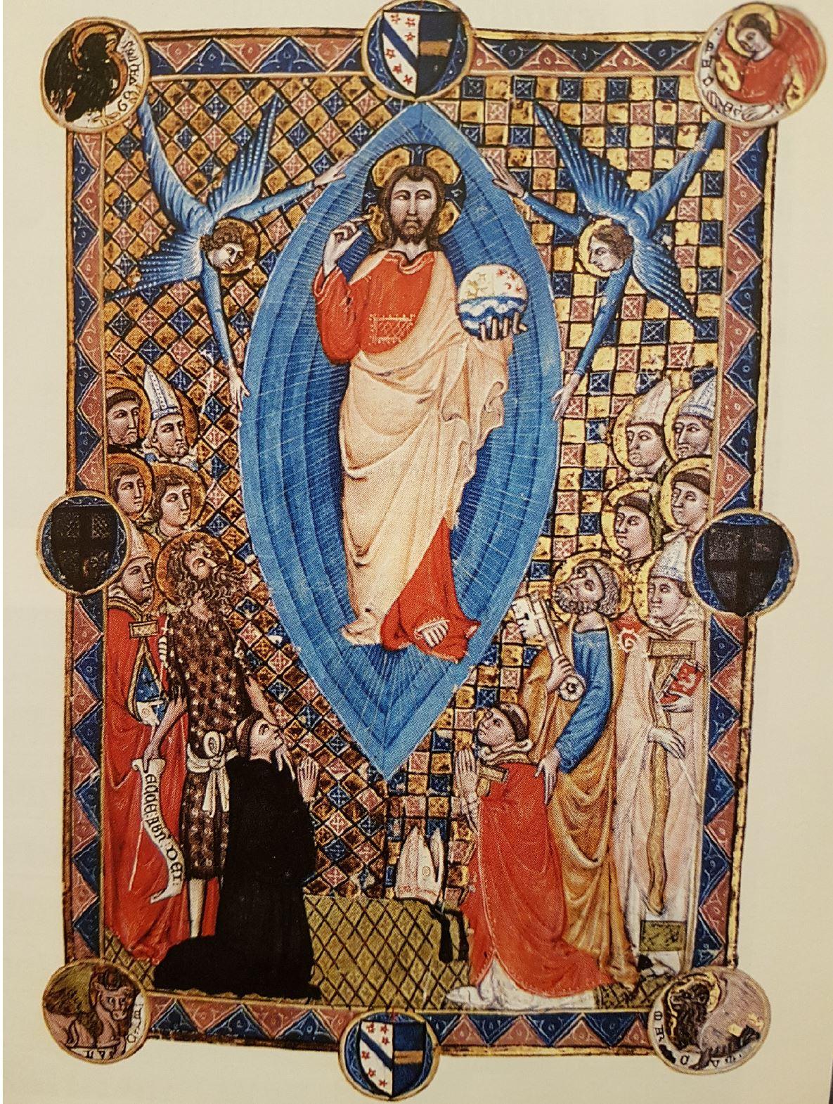 Ascension Pontifical de Pierre de la Jugie 1350 ca fol 12v Bibliotheque Chapitre de Narbonne