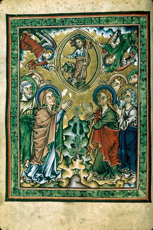 Ascension Psautier cistercien, Allemagne, 1260 ca Besancon BM, MS 0054 fol 21v