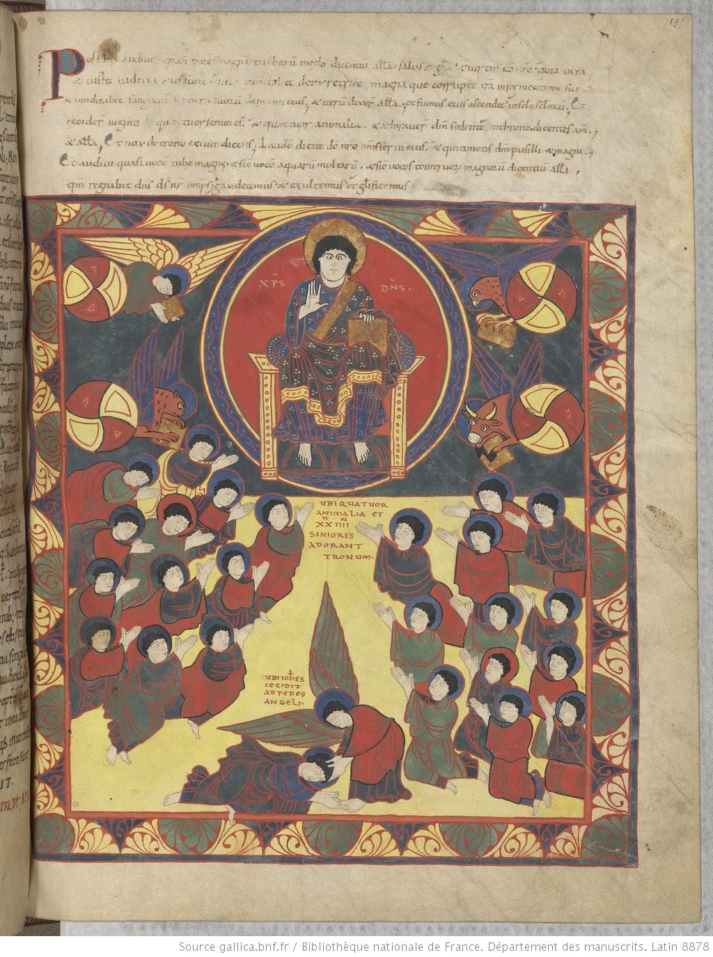 Beatus de saint Sever 1050 ca Apocalypse 19,1-9 fol 199r Artiste B MS Lat.8878 BNF gallica.