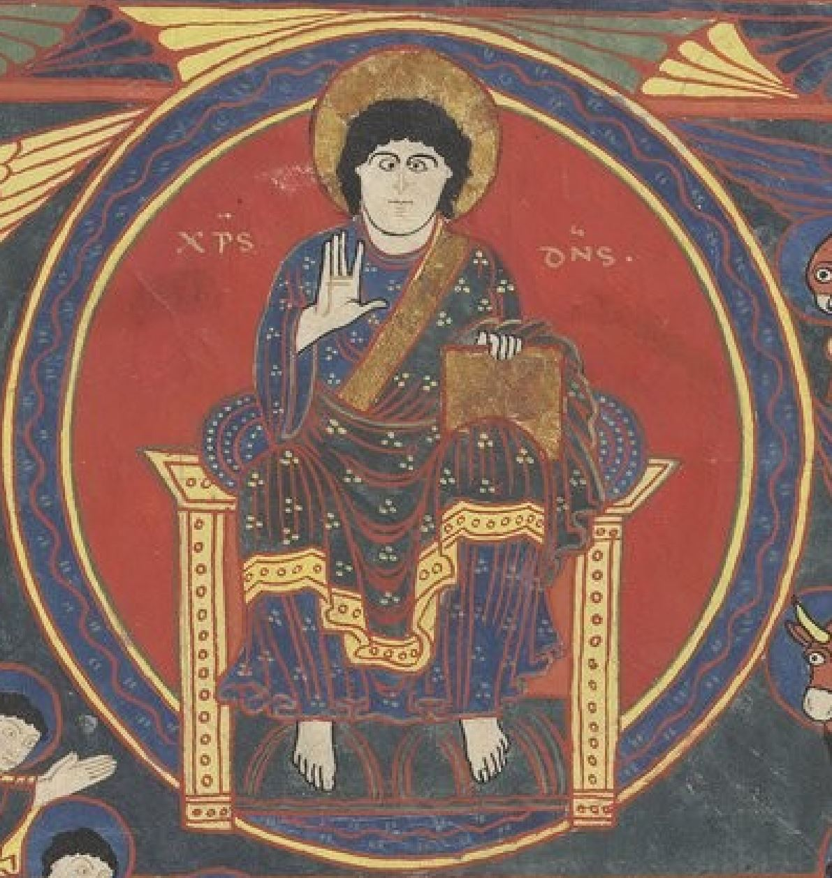 Beatus de saint Sever 1050 ca Apocalypse 19,1-9 fol 199r Artiste B MS Lat.8878 BNF gallica. detail