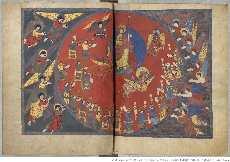 Beatus de saint Sever 1050 ca fol 121v 122r Artiste A MS Lat.8878 BNF gallica.