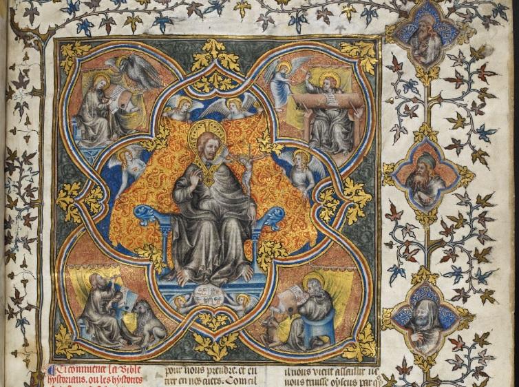 Bible historiale Guyart des Moulins Royal BL MS 17 E VII vol 1 fol 1r 1356-1357