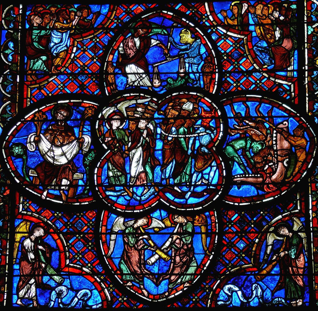 Bourges_-_Cathedrale_Verriere du Jugement dernier 1200-1215 bas