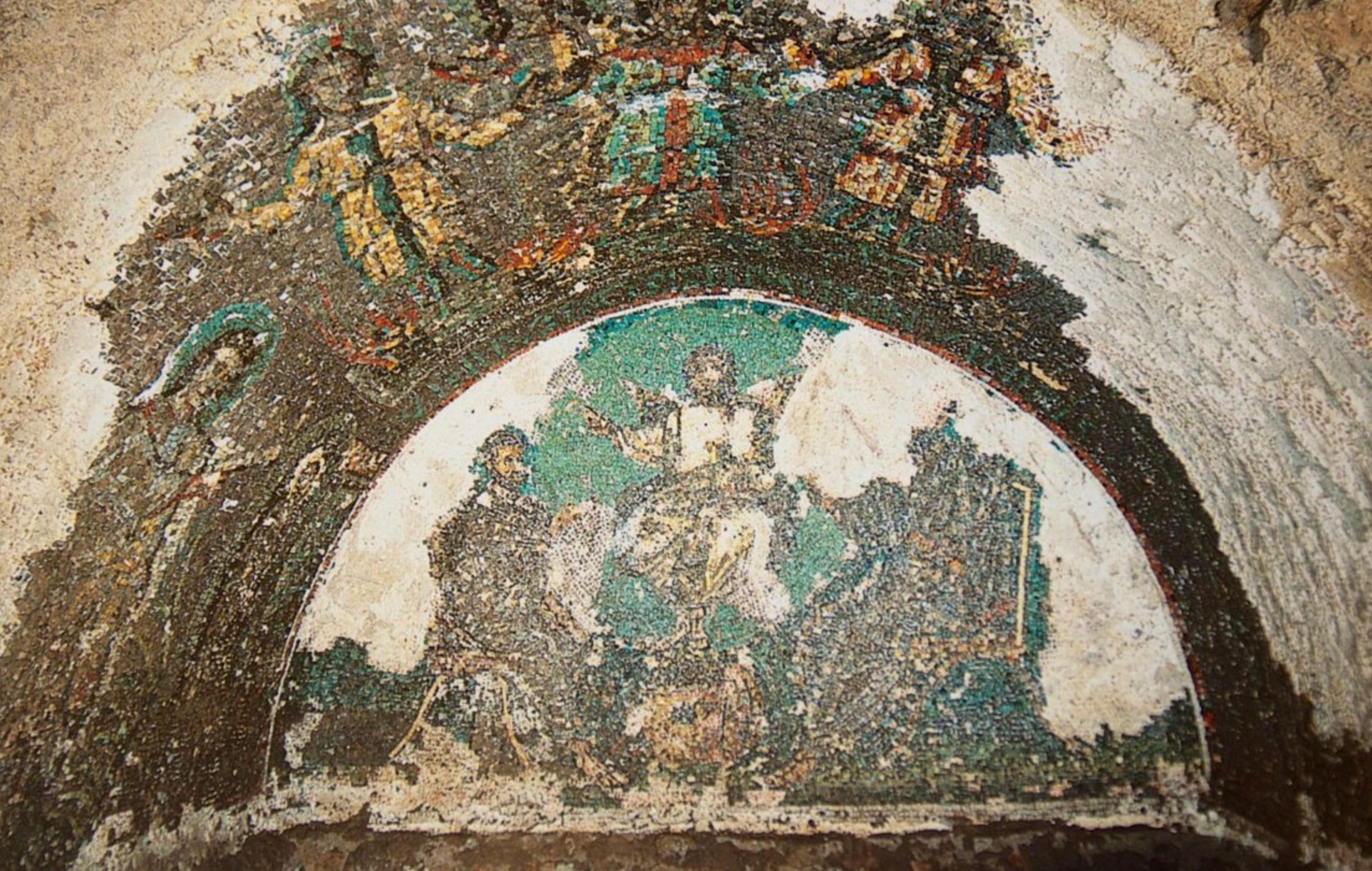 Christ in Aureole of Light, between Peter and Paul. Mosaic, Catacomb of Saint Domitilla, Rome, c. 366-384