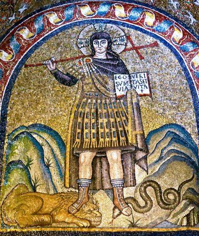 Christ_as_a_warrior_6th_century Battistero Neoniano Ravenne