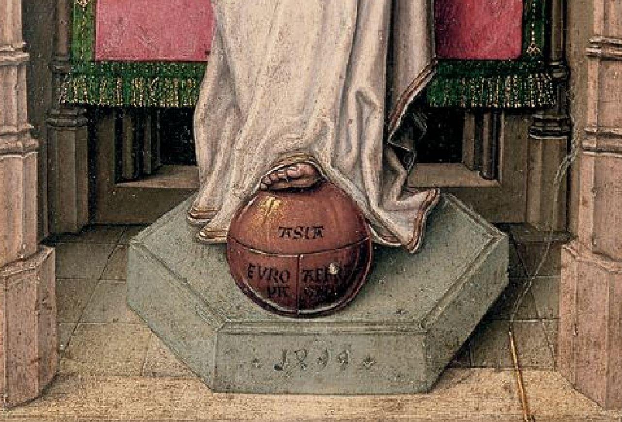 Diptych_Master_of_1499 Abbot Christiaan de Hondt Salvator Mundi , Koninklijk Museum voor Schone Kunsten, Antwerp left detail bas