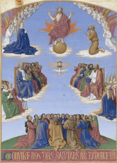Fouquet Adoration St Esprit Livre heures Etienne Chevalier