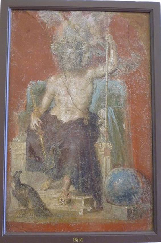 Giove sitting, with his attributes including the eagle and the globe. Naples Archaeological Museum. Pompei. Casa dei Dioscuri