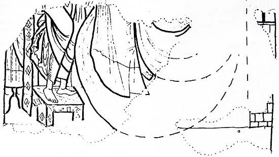 Investiture de saint Pierre in cathedra – Releve d'un detail des fresques de la salle capitulaire de la Trinite de Vendome