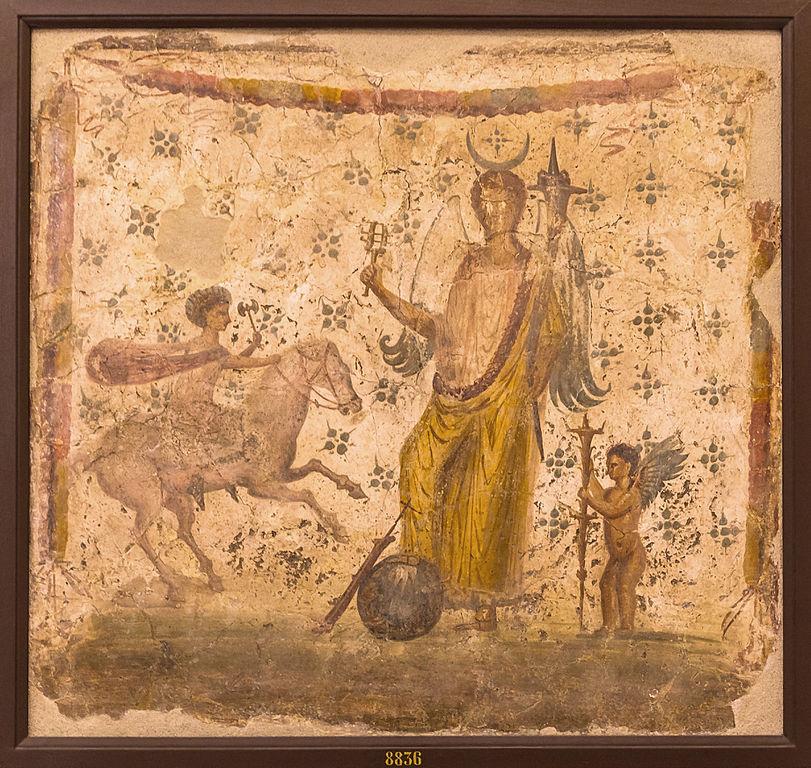 Isis Fortuna entre Helios or Harpocrates et Hesperus Pompeii. House of Philocalus