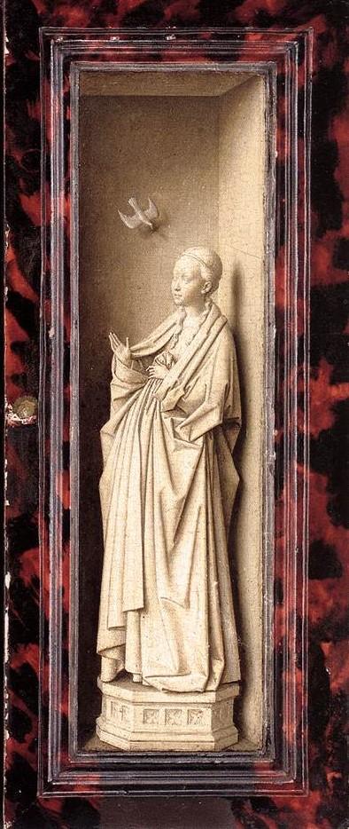 Jan Van Eyck 1437 Vierge de l'Annonciation, revers du panneau droit du triptyque de Dresde Gemaldegalerie, Dresde