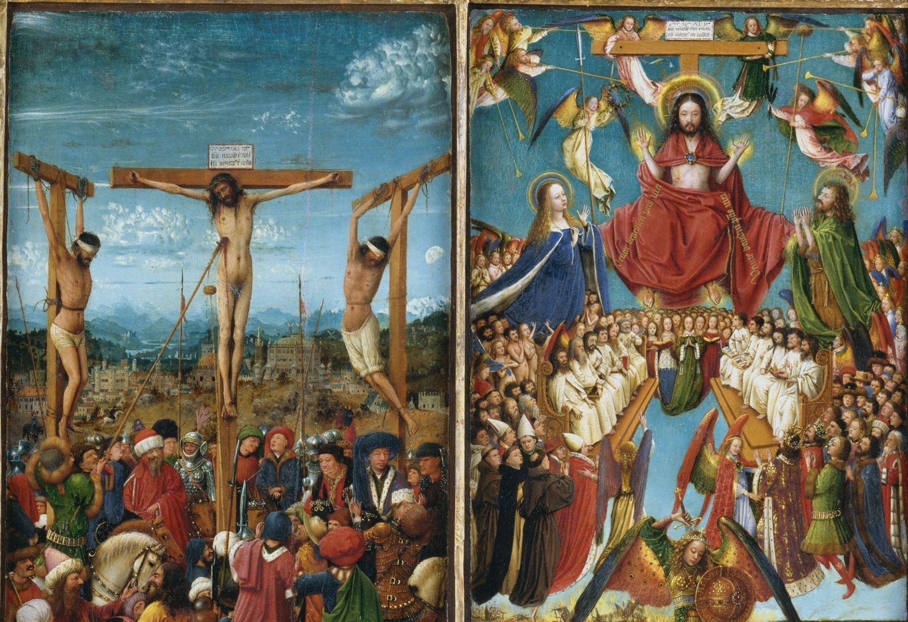 Jan_van_Eyck 1430 ca Diptyque de la Crucifixion et du Jugement dernier MET moitie superieure
