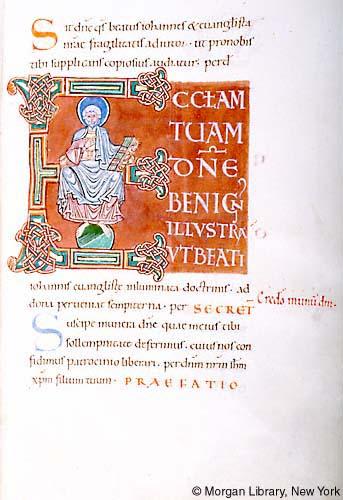 Jean l'Evangeliste Sacramentary France, Mont-Saint-Michel, ca. 1060 MS M.641 fol. 5r Morgan Library