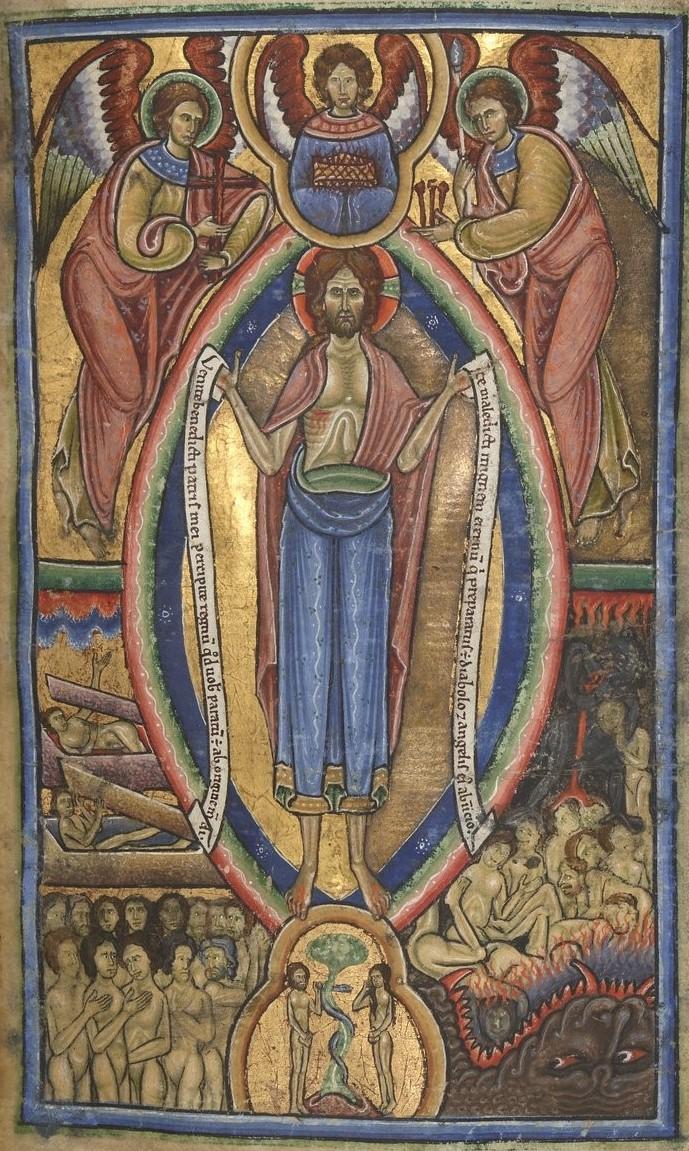 Jugement Dernier, Psautier, use of Westminster, 1101-1200,BnF, Latin 10433, f.9r gallica