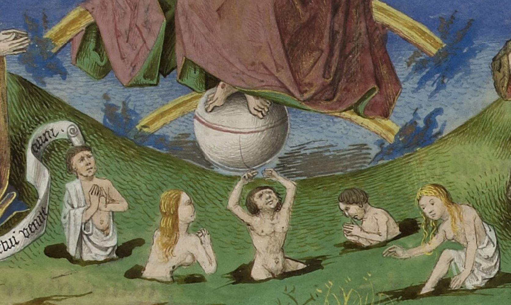 Jugement Dernier, entete chapitre XX de La Cite de Dieu, 1450 ca Strasbourg, Bibliotheque nationale et universitaire, ms 0523, fol 259v detail