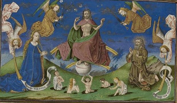 Jugement Dernier, entete chapitre XX de La Cite de Dieu, 1450 ca Strasbourg, Bibliotheque nationale et universitaire, ms 0523, fol 259v