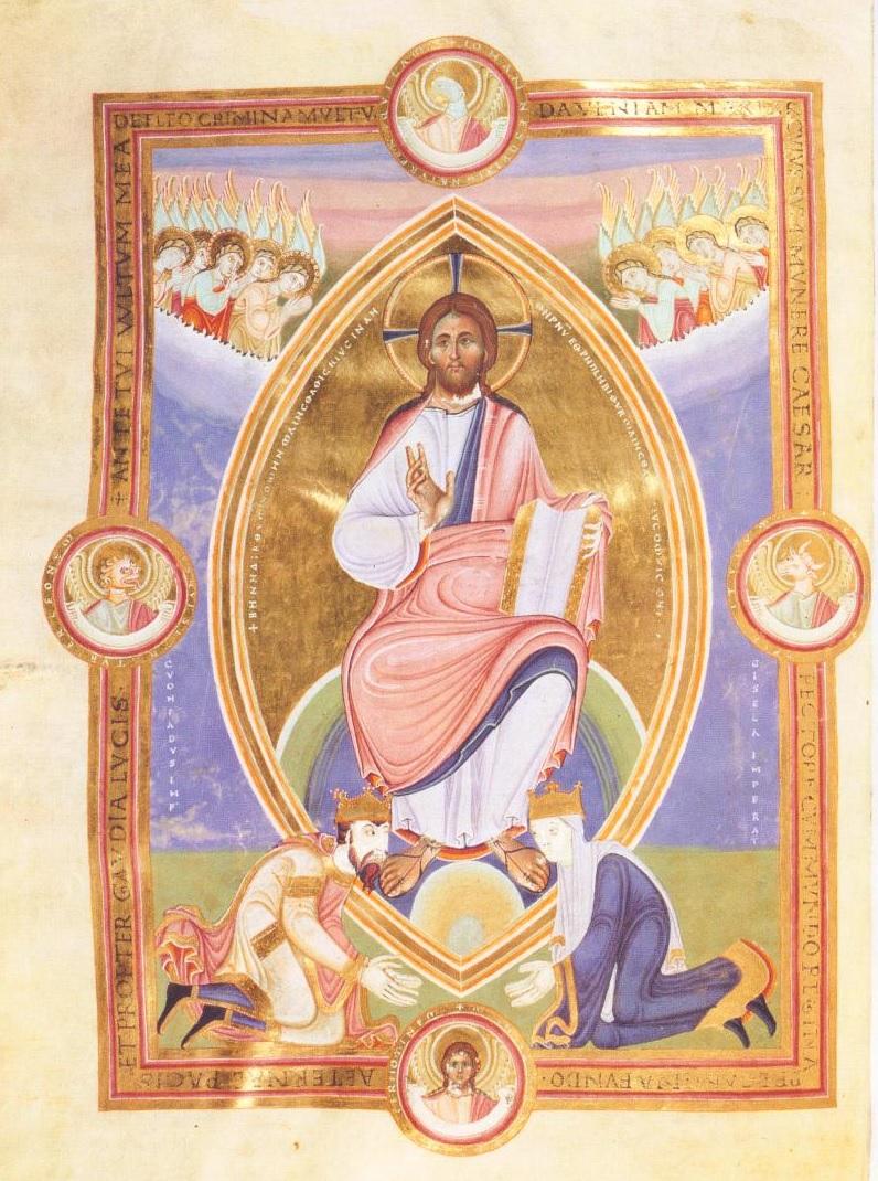 Konrad II. Gisela Codex Aureus Escorialensis, um 1045-46. Madrid, Biblioteca del monasterio El Escorial, Cod. Vitr. 17, fol 2V