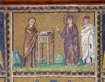 Le denier de la veuve vers 500 Ravenna, Basilica di Sant'Apollinare Nuovo