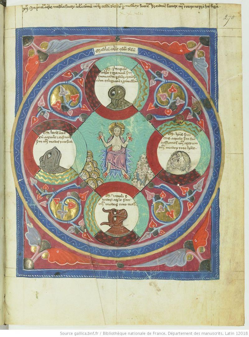 Liber super visione rotarum Ezechielis editus a fr. Henrico de Carreto, Lucano ep., 1315, Latin 12018 270r gallica