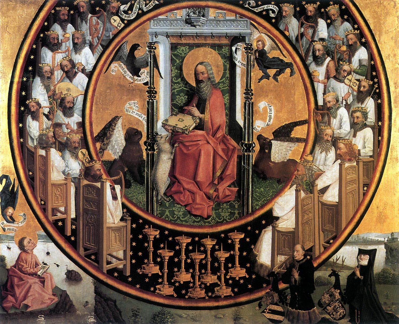 Maitre de la Vision de Saint Jean 1450-1470. a Vision de Saint Jean a Patmos Wallraff Richardz Museum.